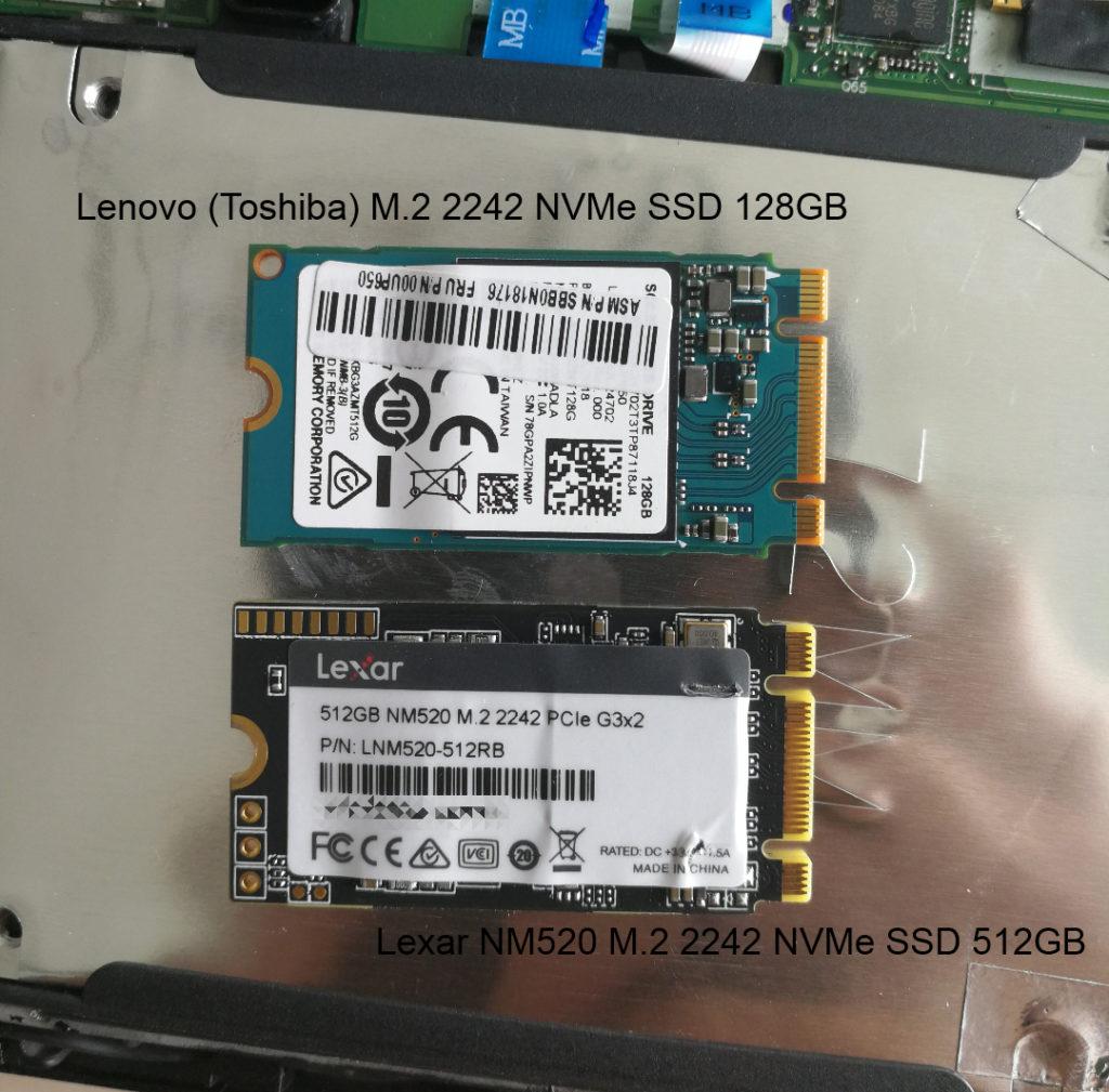 Lenovo M.2 2242 NVMe SSD 128GB & Lexar NM520 M.2 2242 NVMe SSD 512GB