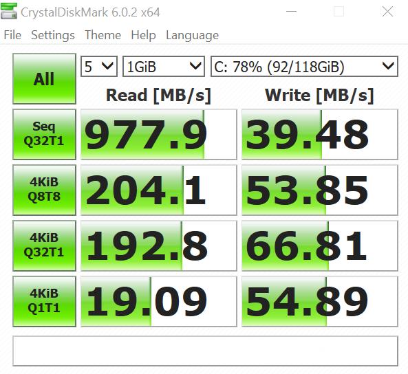 Lenovo (Toshiba) 2242 NVMe M.2 128GB SSD CrystalDiskMark Performance