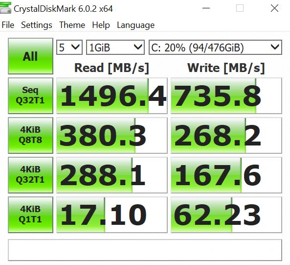 Lexar NM520 2242 NVMe M.2 512GB SSD CrystalDiskMark Performance