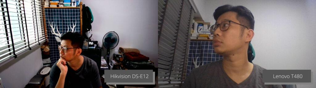 Image quality between Hikvision DS-E12 webcam and Lenovo T480 webcam