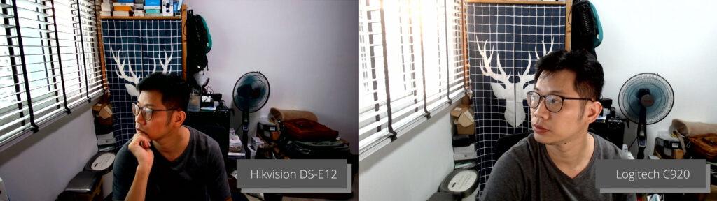 Image quality between Hikvision DS-E12 webcam and Logitech C920 webcam
